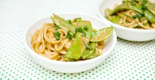 sesame and peanut noodles with snow peas
