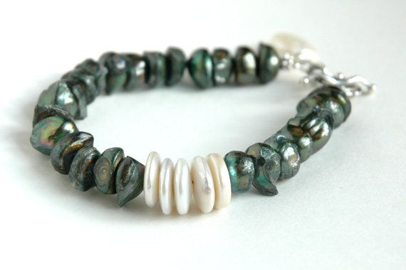 Pearl Bracelet Sterling silver Green pearls by JillianDesigns4u, $49.00