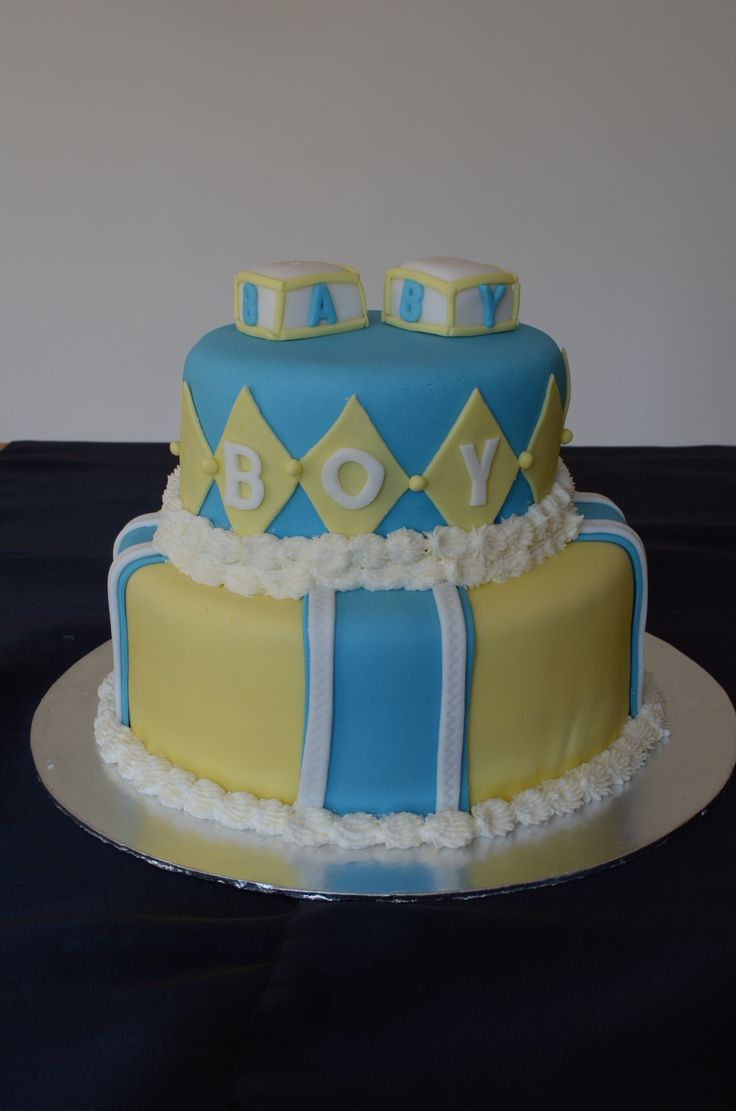 blue and yellow baby shower cake cakes pinterest