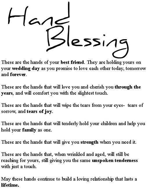 Hand Blessing Vow Ideas Pinterest