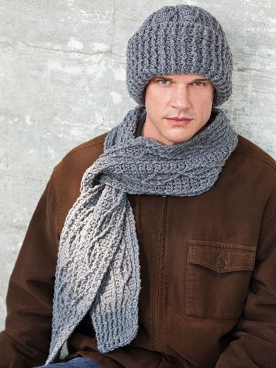 Crochet Mens Scarf : Crochet - Winter Warmer Patterns - Mens Cabled Scarf & Hat