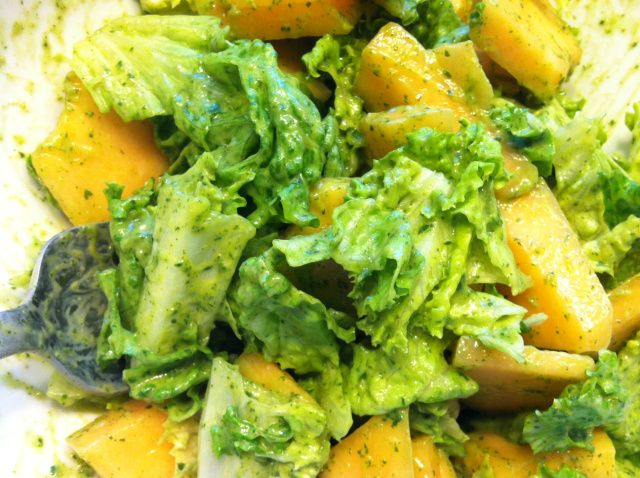Cantaloupe and Lettuce Salad with Avocado Cilantro Lime Dressing