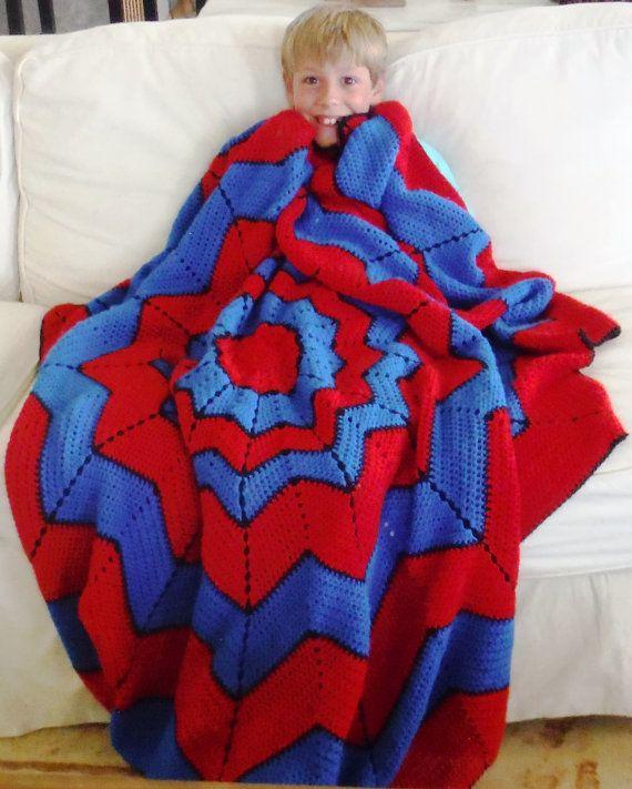 Spiderman Blanket Knitting Pattern : This is a wonderful spiderman blanket that any superhero fan would en?