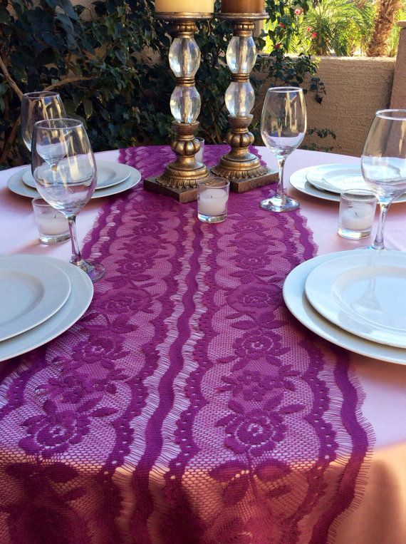 Runner, Lace Wedding plum  Plum,Quaker runner wedding 74in, Lace,  14in x  Wedding Table table Wide