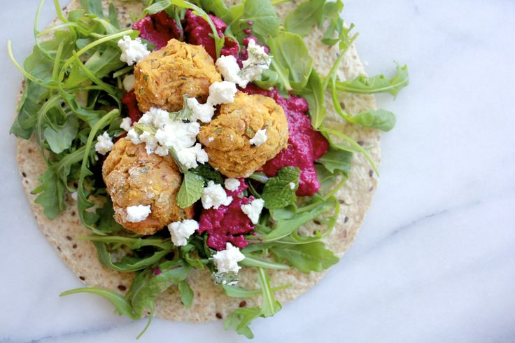 Baked Sweet Potato + Saffron Falafel with Roast Beetroot Dip