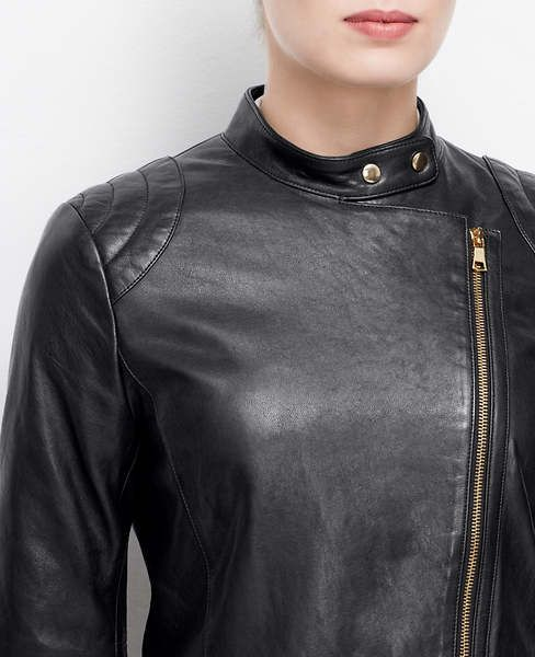 Ann Taylor Quilted Leather Jacket , Ann Taylor Woven Trim Back Zip Tee