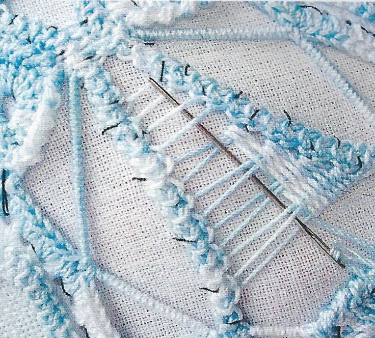 Close up of needle lace stitch used in a Romanian Point Lace crochet project. From Anna Burda magazine, March 2007.