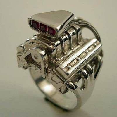 supercharged v 8 chevrolet engine ring jewelry