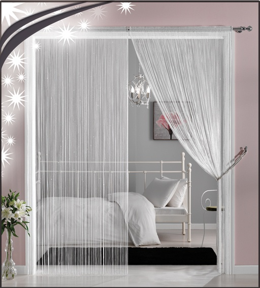 use a lot of yarn for partition room.  affordable party decorations using yarn.  creates a mood for your party.