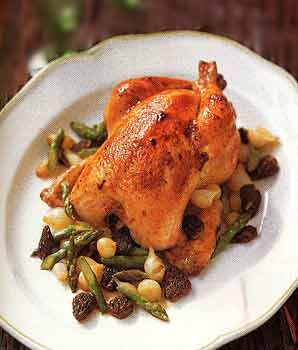 Roast Chicken with Asparagus, Morel, and Pearl-Onion Ragoût | Recipe
