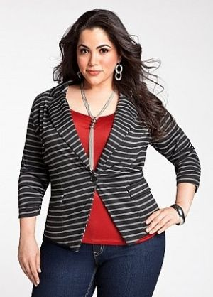 Who says plus-size women can't wear horizontal stripes?  It's the cut of the jacket that gives her a fabulous look!  For more info, http://www.findyourchic.com