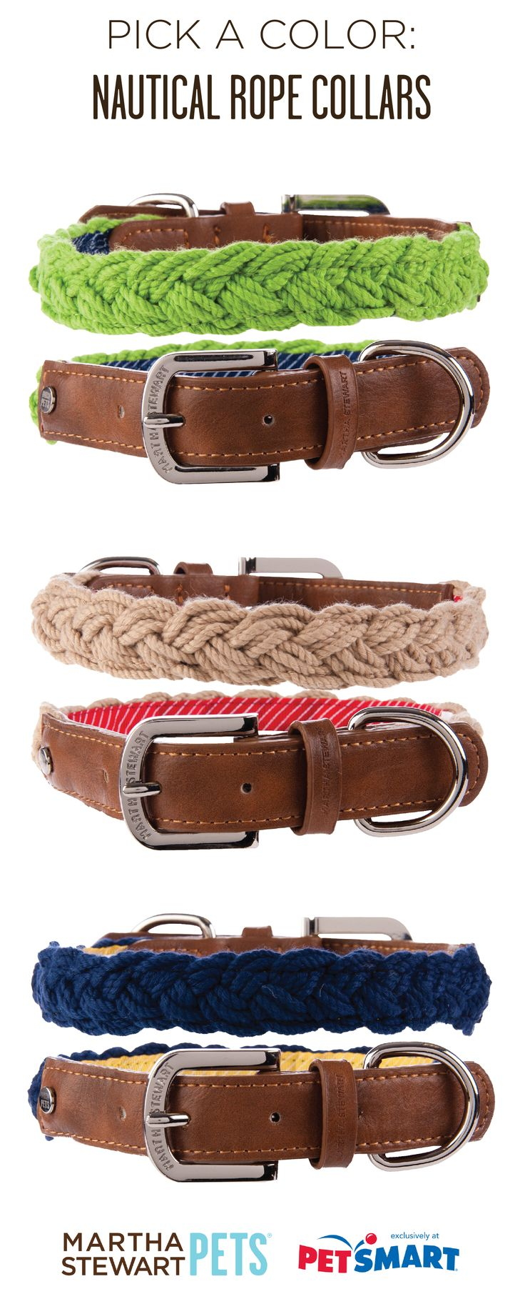 #MarthaStewartPets #nautical #rope dog collars - which color is your favorite? Only at #PetSmart.