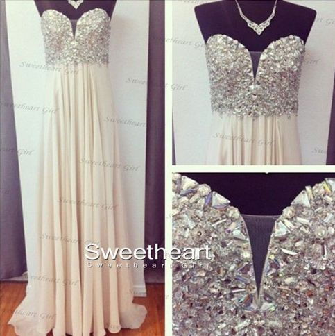 white studio beats by dr dre Aline Sweetheart Neckline Rhinestone Long Chiffon Prom Dresses Even
