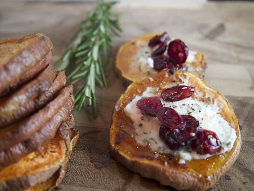 Sweet potato bites with rosemary goat cheese and cranberries