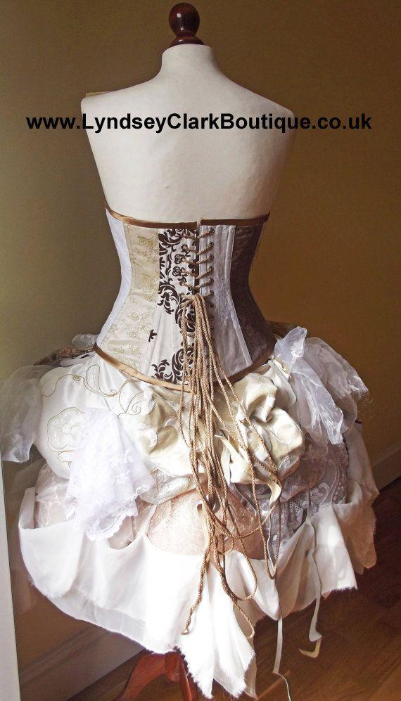Steampunk victorian corset bustle unique wedding dress for Steampunk corset wedding dress