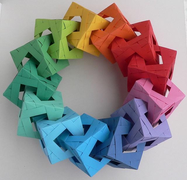 Origami wreath color pinterest