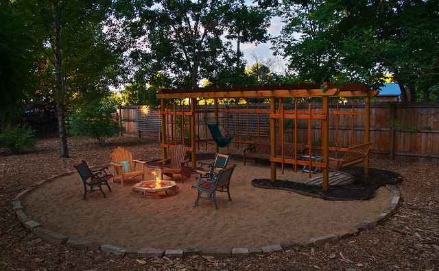 sandfire pit  tiny backyard  Pinterest