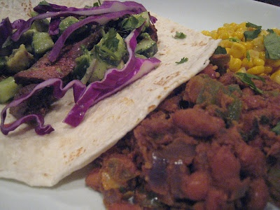 Chile-Rubbed Steak Tacos with Avocado Lime Salsa Served with ...