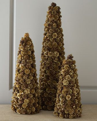 Champagne frost pine cone christmas trees topiary by for Large christmas pine cones