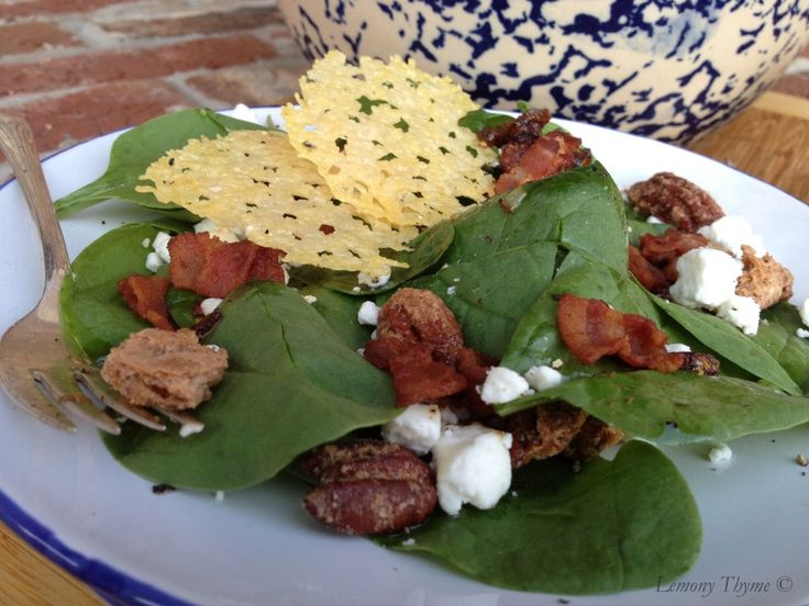 Spinach Salad with warm bacon dressing | Food and Drink | Pinterest