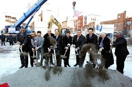 Newark Mayor Cory Booker, Lloyd Blankfein of Goldman Sachs, Eric Schmidt of Google and Nicolas Berggruen of Berggruen Holdings, were on site in Newark, N.J., Thursday for the groundbreaking of Teachers Village, a mixed-use development that will include three charter schools, more than 200 moderately priced apartments for Newark teachers and various retail establishments.