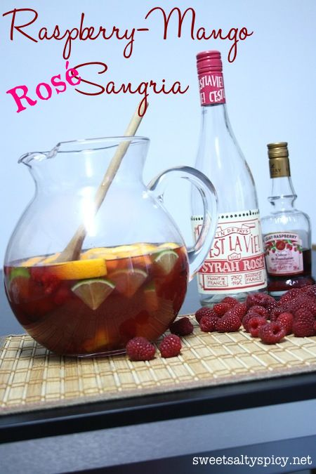 Raspberry-Mango Rosé Sangria | Alcoholic Drinks | Pinterest