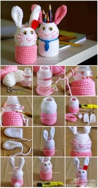 Amigurumi Bunny Pencil Holder : cute bunny pencil holder ideas Pinterest