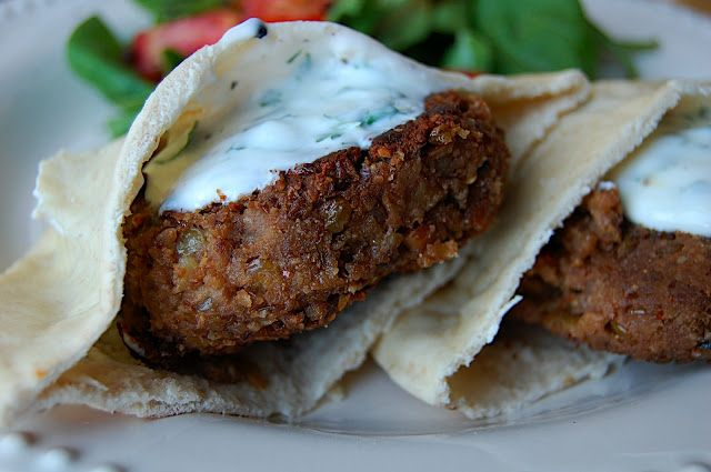 Savory Spicy Sweet: Lentil-Walnut Burgers with Yogurt Cilantro Sauce
