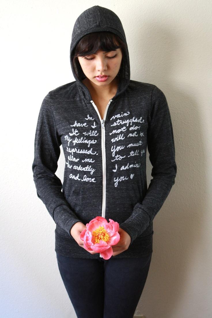 Pride and Prejudice zip-up hoodie.