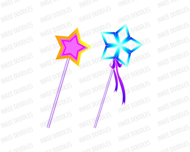 Magic Wands, Pink Blue Star Clip Art, for Commercial Use, comes in a ...