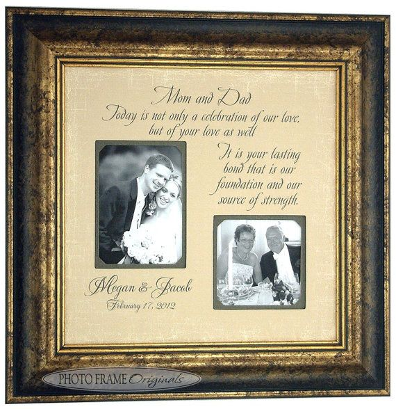 Parents Wedding Gift Personalized Photo Frame Parents Of The Bride Parents Of The Groom Picture