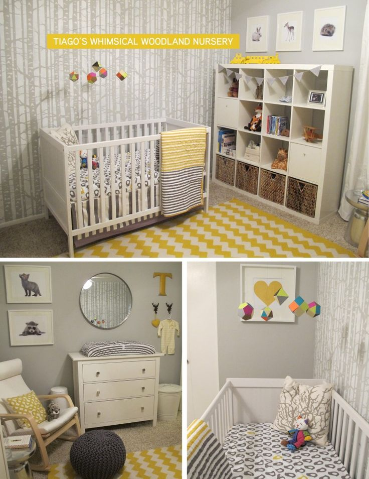 Fantastic woodland nursery featuring a fab gray and yellow color scheme! #grayandyellow #nursery