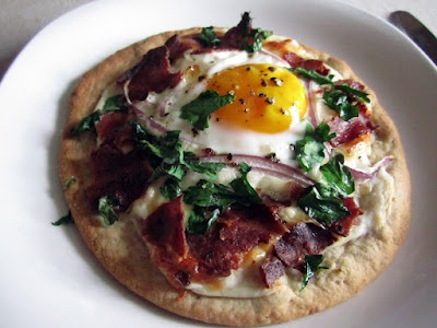 Breakfast Pita Pizza. I make this for dinner and it's one of my ...