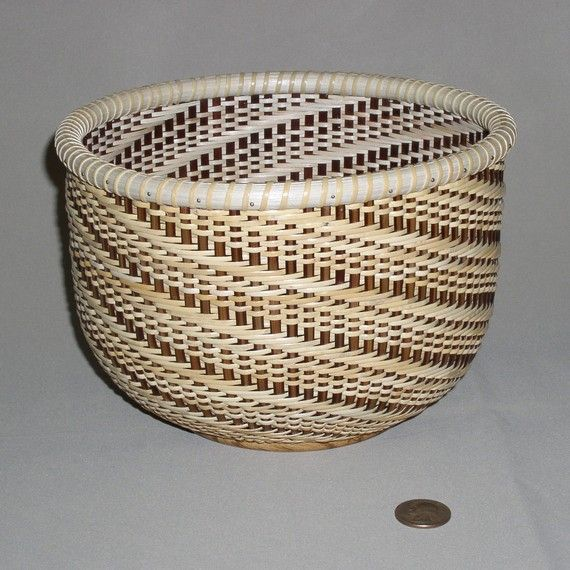 How To Hand Weave A Basket : Hand woven nantucket style basket twill weave zebra wood