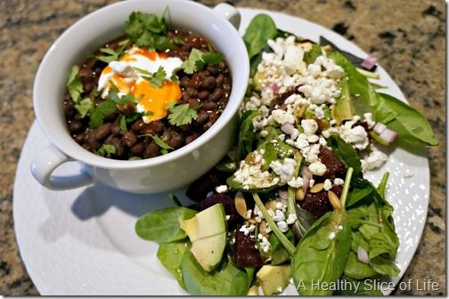 Black bean soup with sour cream and hot sauce. Mixed power green salad ...