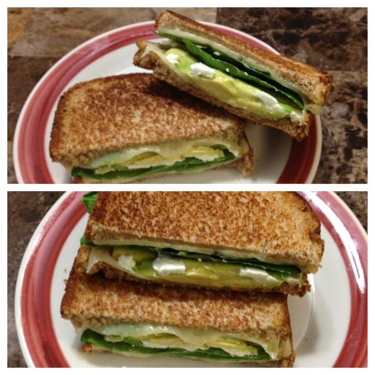 Spinach Pesto Grilled Cheese Sandwich Recipe — Dishmaps