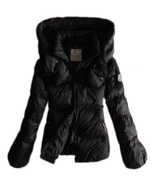 Moncler Women Winter Jackets Pure Color Black Double Collar 2781600