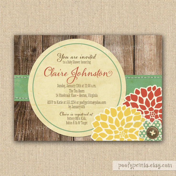 rustic baby shower invitations baby showers pinterest
