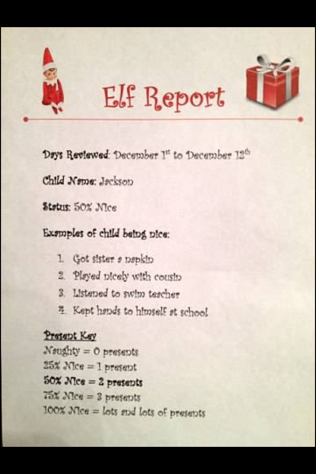Elf on a Shelf report card!