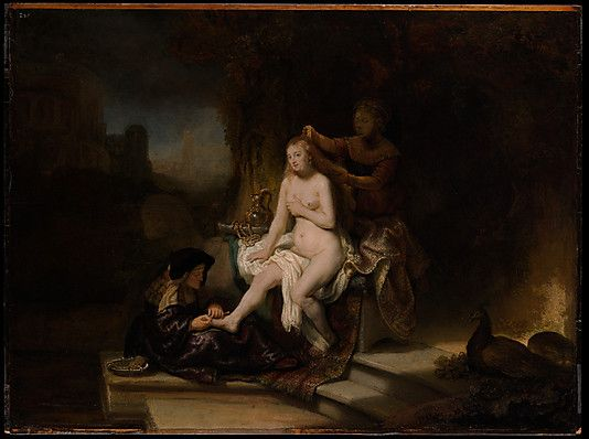 The Toilet of Bathsheba  Rembrandt (Rembrandt van Rijn) (Dutch, Leiden 1606–1669 Amsterdam)  Date: 1643 Medium: Oil on wood Dimensions: 22 1/2 x 30 in. (57.2 x 76.2 cm) Classification: Paintings Credit Line: Bequest of Benjamin Altman, 1913 Accession Number: 14.40.651