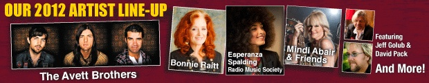 Super line-up for this year's Clearwater Jazz Holiday, including Bonnie Raitt!  October 18-21, 2012