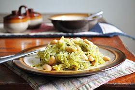 Spaghetti Squash w/ Pesto & Beans | FOOD! | Pinterest