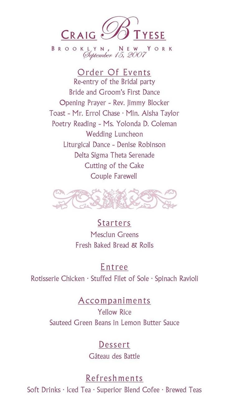 Wedding reception program template website rmer memes