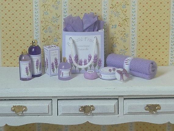 lavender bathroom accessories dollhouse decor