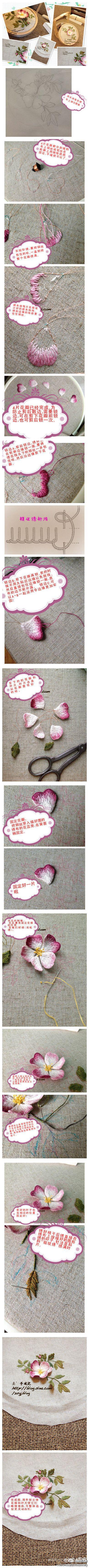 TMD,看着真是心动无比啊。蔷薇!立体绣的教…_来自雪忆六月的图片分享-堆糖网