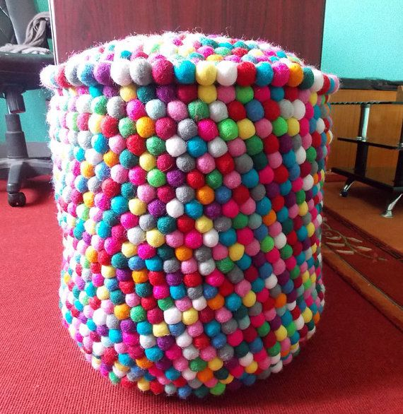 Felt pouf stuffed handmade in Nepal by Nepalese women