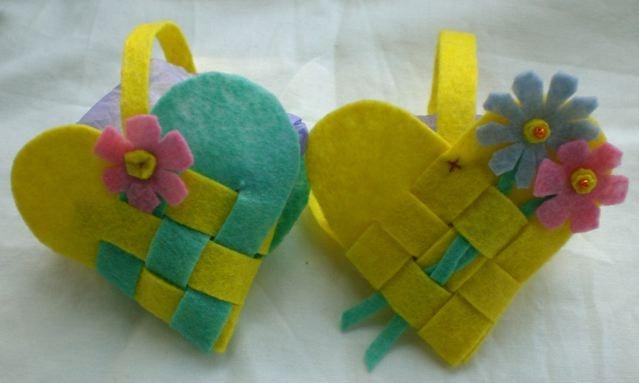 Woven Heart Basket Craft : Woven heart baskets made from felt craft ideas