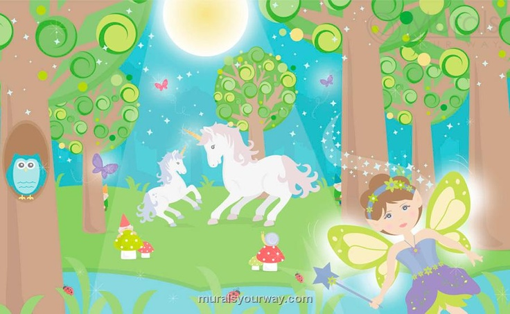 Fairy fantasy crafts kids for Fairy forest mural