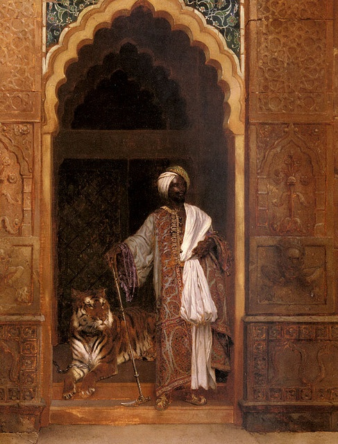 Rudolf Ernst  Title: A Sultan with a Tiger  Signed 'R. Ernst' lower right  Medium: Oil on Panel  Size: 39.5x31.25 in (100.4x80cm)  Austrian Orientalist, 1854-1932