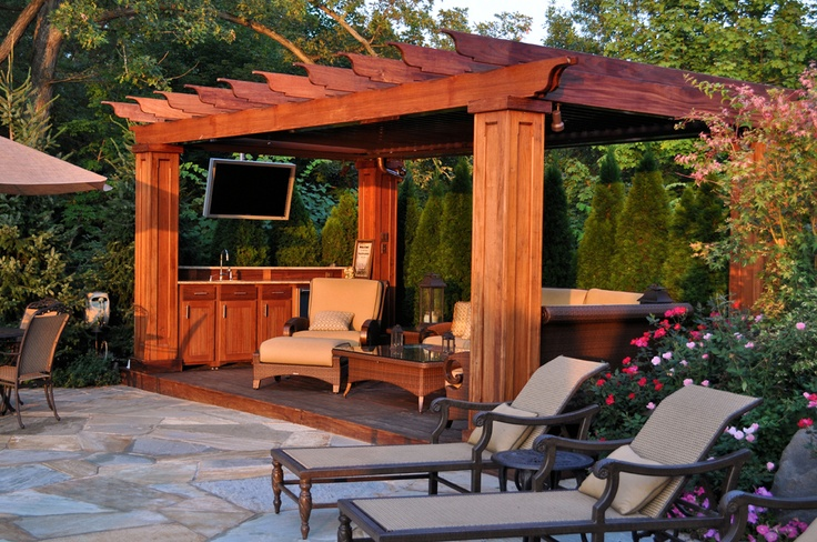 Pergola with tv dream home pinterest for Brick garden room designs